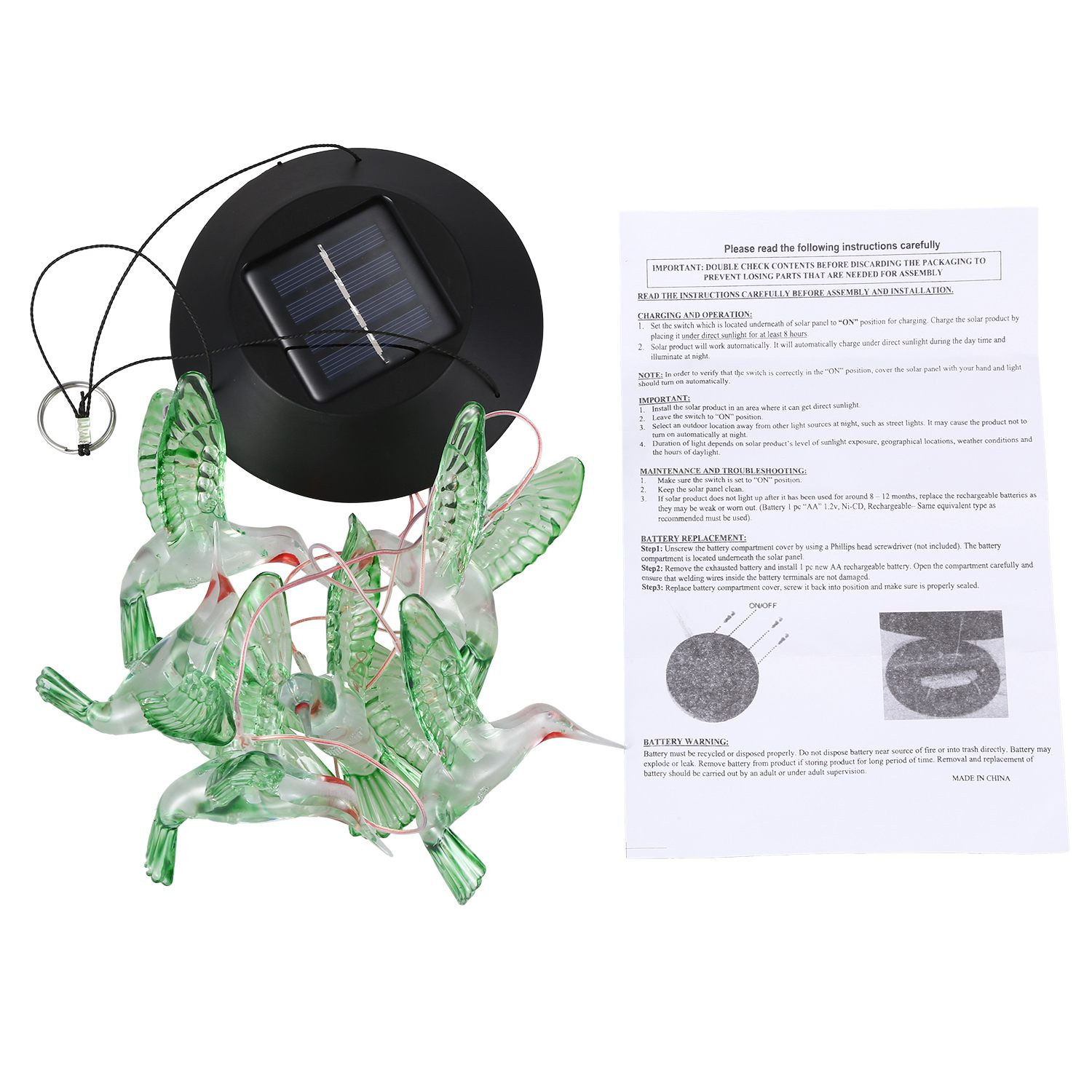 SDFC Solar Color Changing LED bird Wind Chimes Home Garden