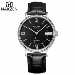 Image 2 - NAKZEN Men Business Automatic Mechanical Watches Brand Luxury Leather Man Wrist Watch Male Clock Relogio Masculino Miyota 9015