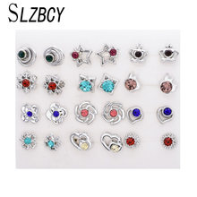 SLZBCY Women Cute Crystal Small Stud Earrings Sets Girls Child Star Flower Earring Jewelry Party Christmas Gift 12 Pairs/Set(China)