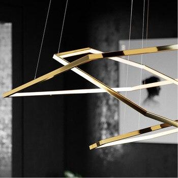 Hexagon Suspension Licht Luxus Gold Modernes Design LED Anhänger Lampe Für Wohnzimmer Villa Minimalistischen Beleuchtung Dekoration
