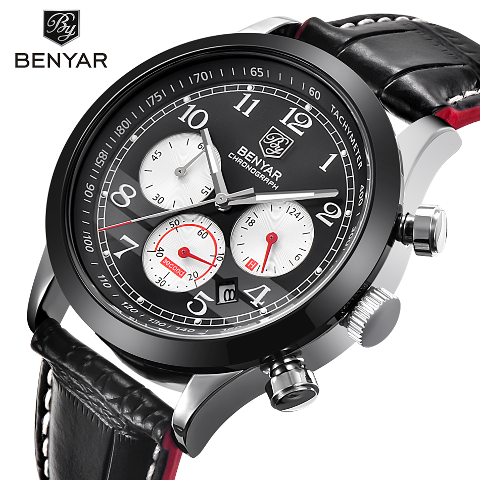 ФОТО BENYAR Luxury Brand Military Sport Watches reloj hombre Dive Multifunction Chronograph leather Quartz Watch Relogio Masculino
