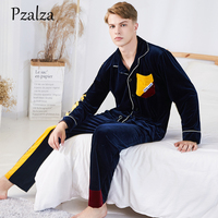 Winter Mens Pyjamas Set Letter Splice Multicolor Pajamas Men Loungewear Velour Warm Pyjamas Men Sleepwear Home Clothing L XL XXL