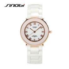 SINOBI Elegant Womens Wrist Watches Ceramic Watchband Ladies Swimming Waterproof Wristwatches Fashion Females Quartz Clock 2017