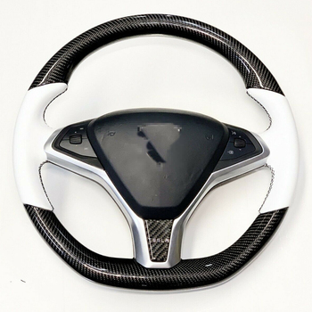 DIY Hand-stitched Car Steering Wheel Cover Carbon Fibre White Leather for Tesla Model S Model X