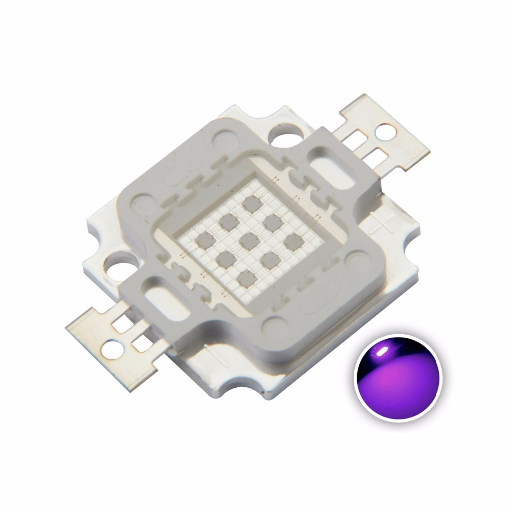 10PCS 10W High Power LED 900mA 11-13.8V UV Light Chip 365nm 375NM 385nm 395nm 400nm 415nm 430nm Ultra Violet DIY