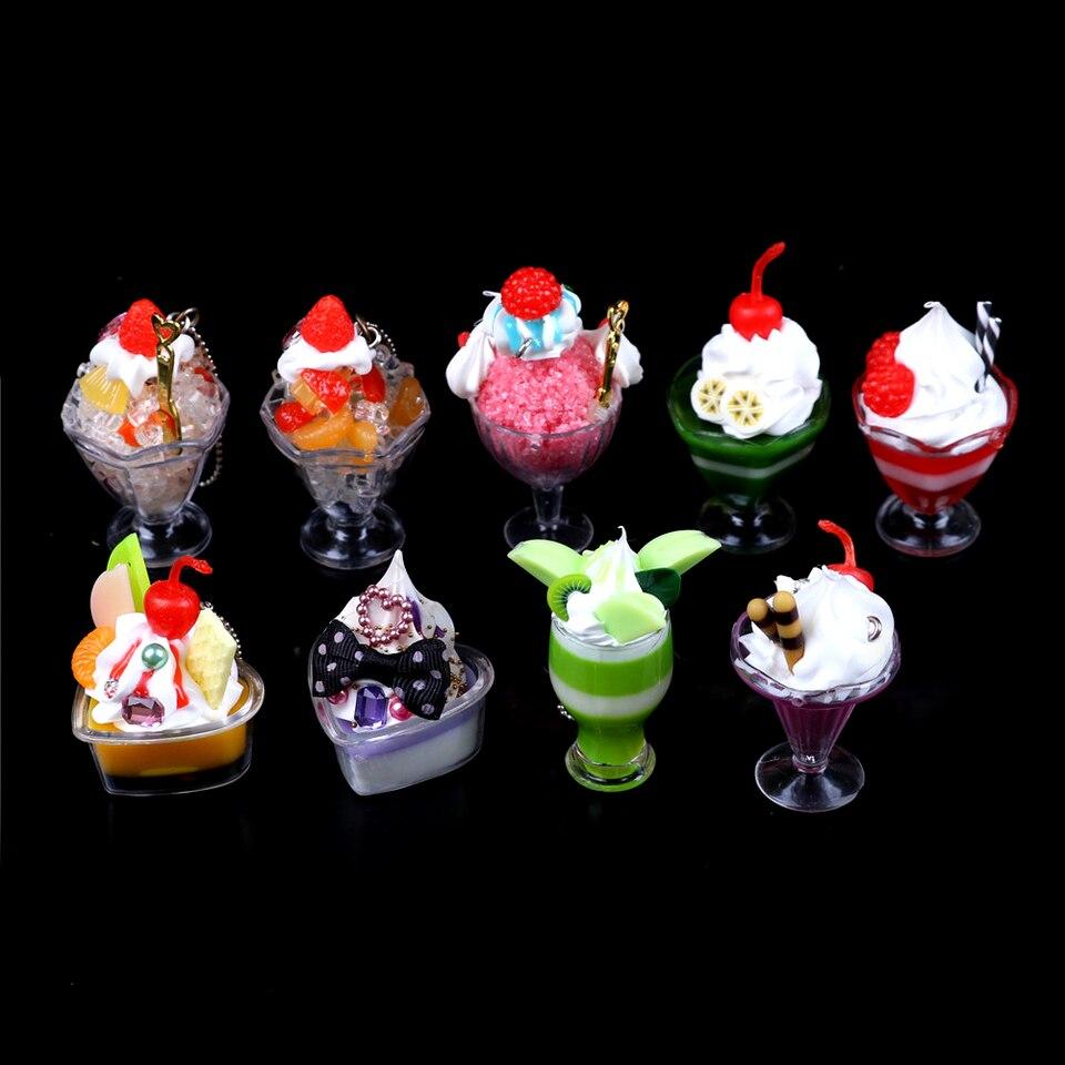 Dollhouse Mini Food Decor Cream Fruit Cup Ice cream cup Simulation Kid Toy  wn6