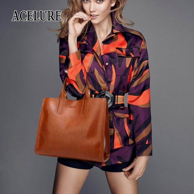 ACELURE Leather Handbags Big Women Bag High Quality Casual Female Bags Trunk Tote Spanish Brand Shoulder Bag Ladies Large Bolsos 5