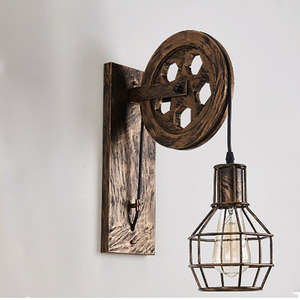 Image 3 - Vintage Home Sconce Light Loft Retro Wall Lamp Lifting Pulley Wall Light Industrial Style Iron Lanterns Suspension Pendant Light