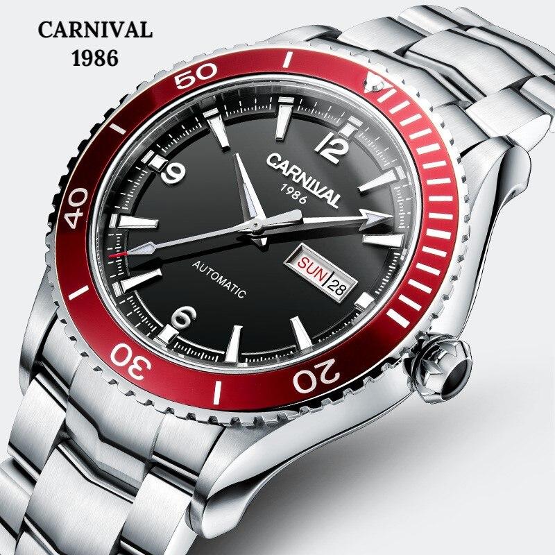 Carnaval Sport Automatische Horloge Mannen MIYOTA Beweging Mechanische Horloges Mens Sapphire Crystal Lichtgevende 5ATM Klok montre homme-in Sporthorloges van Horloges op  Groep 1