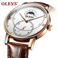 Mens Watches OLEVS Fashion Man Watch Brown Leather Watches For Men Rose Gold Sport Quartz Clock Male Waterproof erkek kol saati