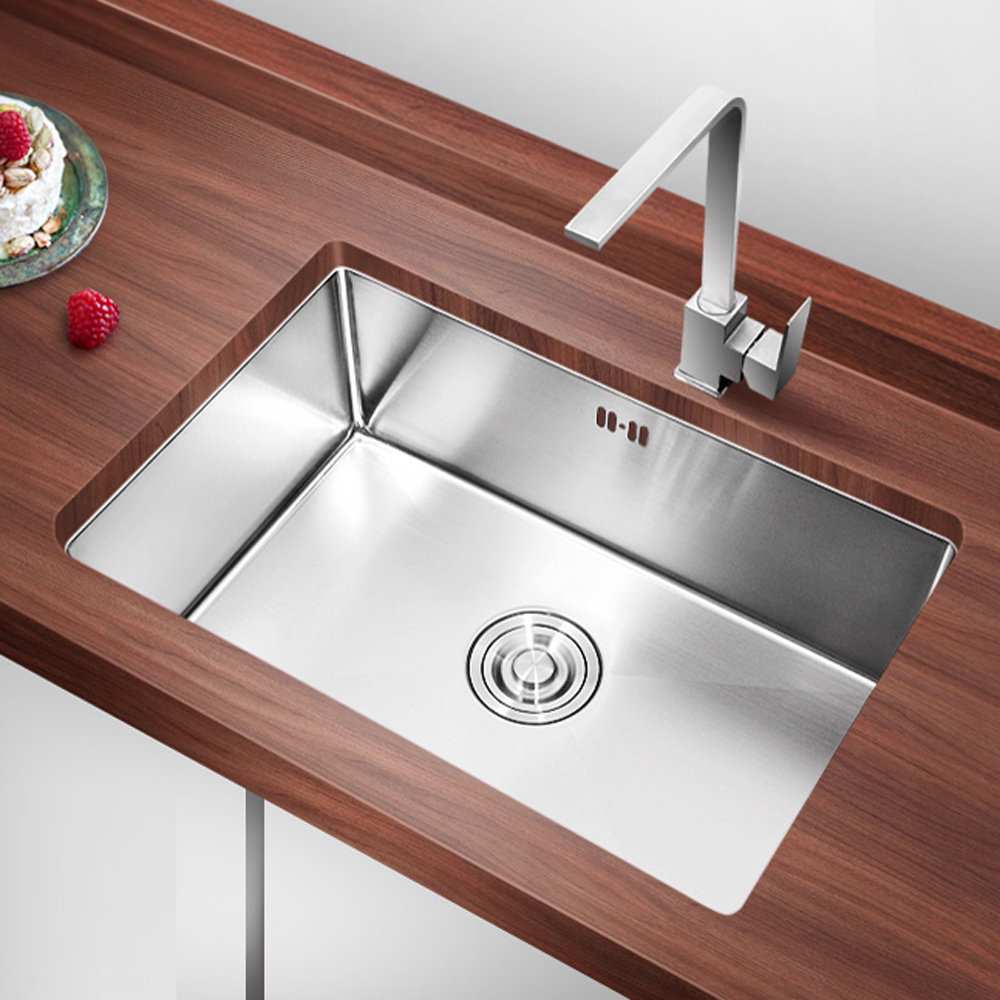 Single bowl double drainer stainless steel sink - Sus 304 Stainless Steel Handmade Kitchen Sink Sets Undermount Above Counter Apron Front Single Bowl Double