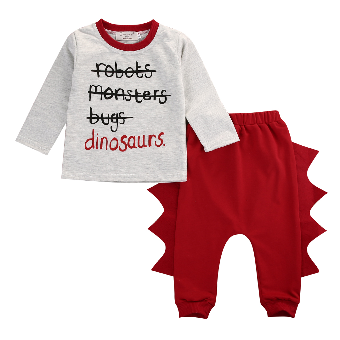 New Toddler Kids Clothes Fashion Baby Autumn Long Sleeve Tops 3D Pant 2pcs Dinosaur Clothing Set Outfit Bebek Giyim Unisex 0-4Y