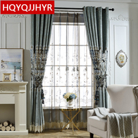 Blue European Luxury Custom Embroidery Villa Curtains For Living Room Low Key Luxury Classic Curtains For