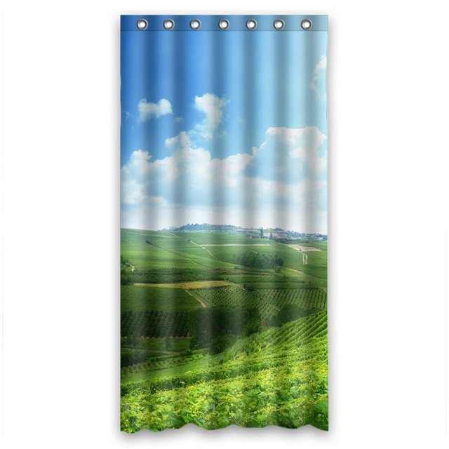 Glam Green Field And Blue Sky Personalized Fabric Shower Curtain 36WX72