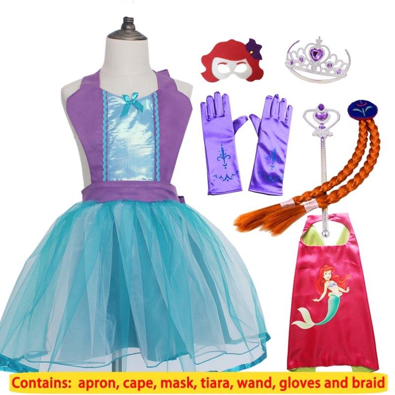 Belle Elsa Rapunzel Princess Party Costume Cape Mask Tutu Tiara Wand Glove Braid