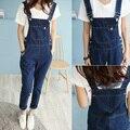 2016 летний корейский стиль джинсовые комбинезоны женская мода комбинезоны женский отверстие джинсовые брюки ремень опрятный стиль свободный