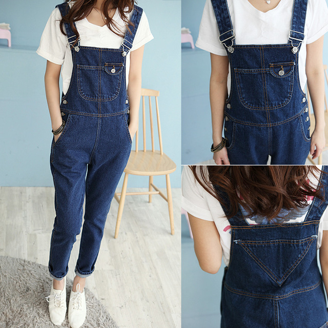 2016 summer korean style denim jumpsuits fashion women's overalls female hole denim strap trousers preppy style loose