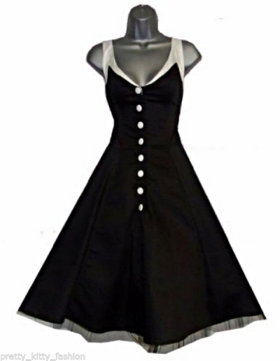 US $40.49 |Women pinup audrey solid 1950s dress vintage retro swing  rockabilly dress stretch plus size UK 8 24 R118-in Dresses from Women\'s  Clothing ...