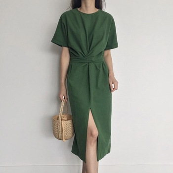 O-neck Short Sleeve Hem Split Casual Slim Solid Color Female Dresses