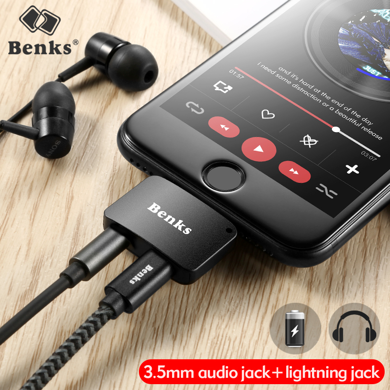Benks Audio and Lightning Charging Adapter for iPhone 7 8 Plus iOS 11 3 5mm Headphone