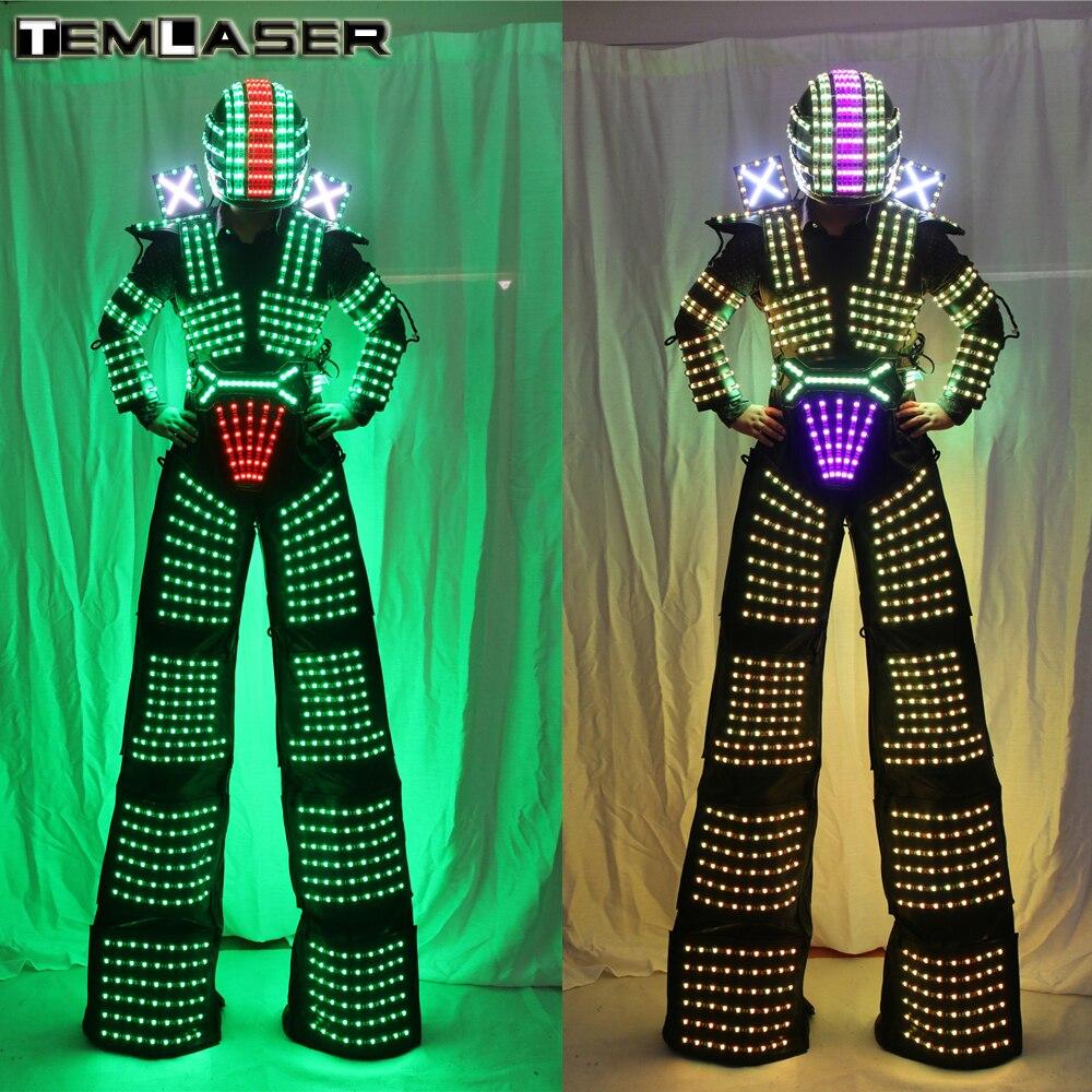 LED Robot Costume David Guetta Vestito Robot LED illuminati Kryoman Robot Trampoli Vestiti Costumi Luminosi