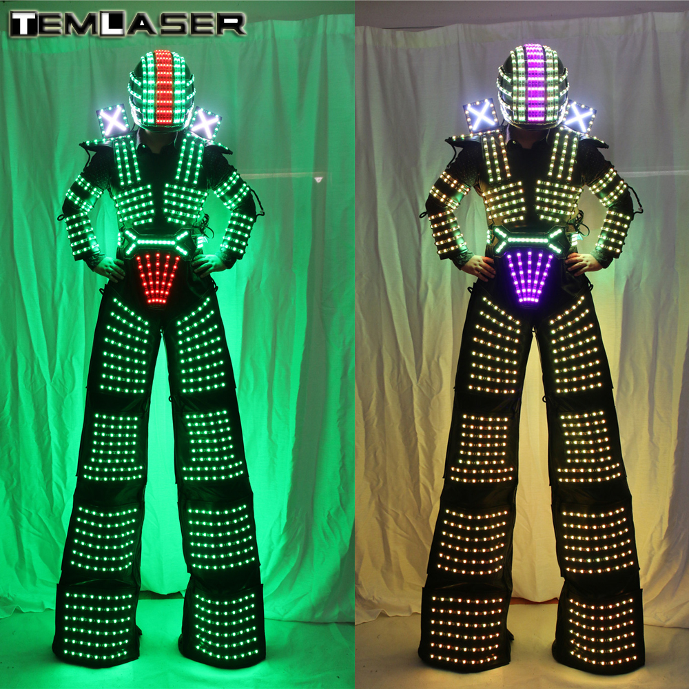 LED Robot Costume David Guetta Vestito Robot LED illuminati Kryoman Robot Trampoli Vestiti Costumi Luminosi