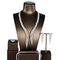 LAN PALACEnew jewellery sets zircon bride jewelry luxury silver necklace wedding cubic zirconia jewelry sets four free shipping