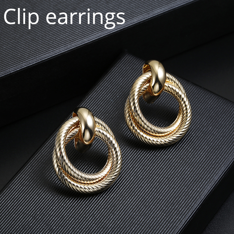 New ZA Clip On Earrings No Pierced For Women Vintage Gold Statement Geometry Round Ear Clips Jewelry Brinco Feminino Party Gift