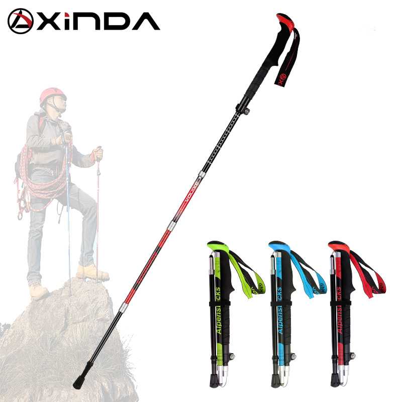XINDA Folding Trekking Poles Carbon Fiber Ultralight Quick Lock Walking Stick Hiking Running Nordic Walking Pole