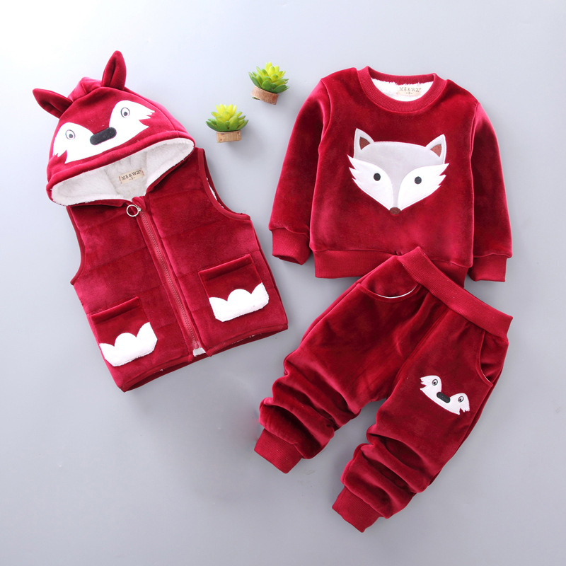 Lovely Fox Winter Kids Baby Clothes Sets Outfits Thick Warm Toddler Girls Suits 3pcs Velvet Children Boys Parkas Outerwear Z423Lovely Fox Winter Kids Baby Clothes Sets Outfits Thick Warm Toddler Girls Suits 3pcs Velvet Children Boys Parkas Outerwear Z423