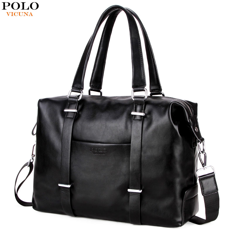 все цены на VICUNA POLO High Quality Men's Business Travel Bag Men Casual Luggage Bags Black Leather Duffle Bag Simple Design Hand Luggage онлайн
