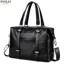 ea84510def02 VICUNA POLO High Quality Men s Business Travel Bag Men Casual Luggage Bags  Black Leather Duffle Bag Simple Design Hand Luggage