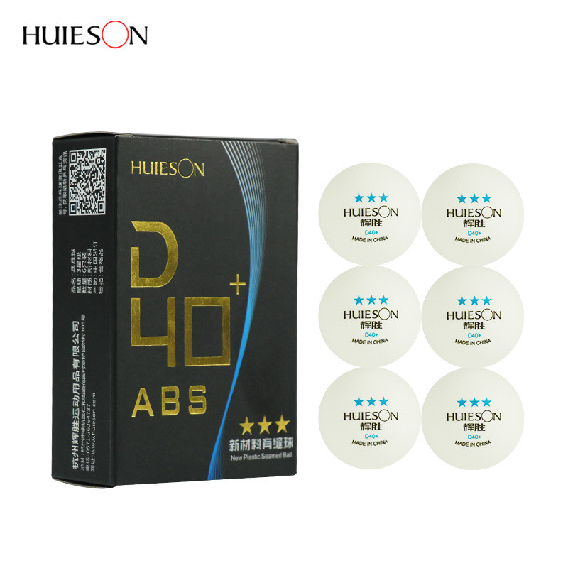 Huieson 6pcs/pack Match Standard 3 Star Plastic Table Tennis Ball 40+mm New Material ABS Pingpong Balls Table Tennis Accessories