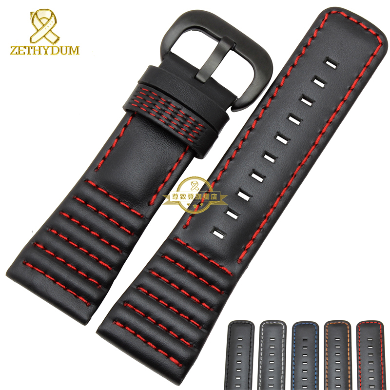 2016 New Genuine Leather watch strap 28mm bracelet Watchband Black with stitched for Friday Men Watch accessories belts pair of chic faux gem leaf feather drop earrings for women