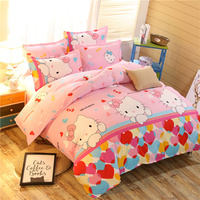 Home Textiles,Brand Logo Hello Kitty Bedding Set,Children Cartoon Pattern pink Duvet Cover Bed Sheet Pillowcase Free Shipping