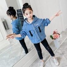 Spring Autumn Baby Denim Jacket for Girls Coat Jackets Hoodies Teenagers Vintage kids Children Outerwear 4-13 Y