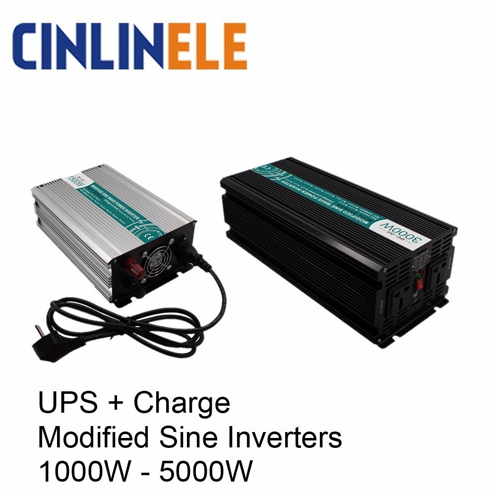 UPS + Charger Modified Sine Wave Inverter 1000W - 5000W DC 12V 24V 48V to AC 110V 220V 1500W 2000W 3000W 4000W Solar Power Car astro city private lives