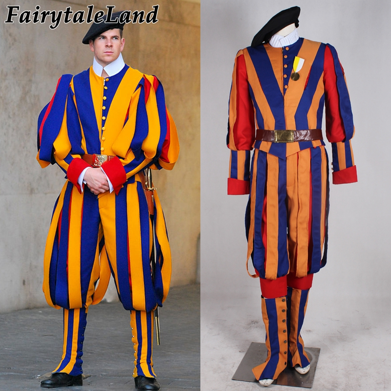 newest halloween Carnival costume for adult men and women unisex soldiers cosplay costume papal swiss guard