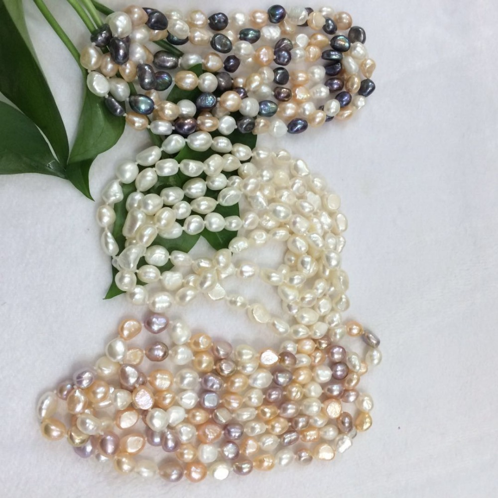 """NEW long 48 /""""8-9mm baroque multicolor freshwater pearl necklace AAA"""