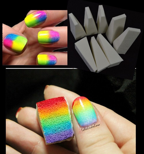 8 unidades / lote Nail Art Painting Nails Esponja Equipos Simple DIY - Arte de uñas - foto 2