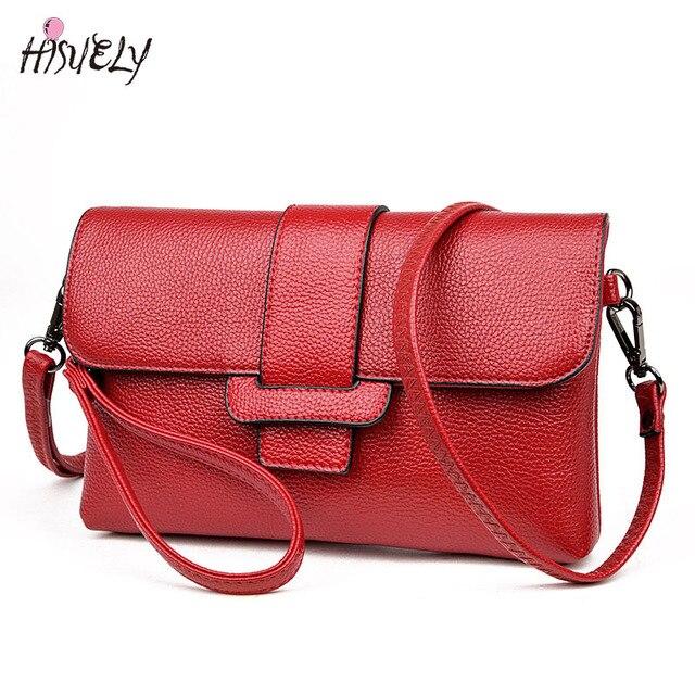 0ae0652faaee HISUELY Fashion Leather Messenger Bag Designer Women Shoulder Bag Envelope For  Ladies Clutch Bag Small Crossbody