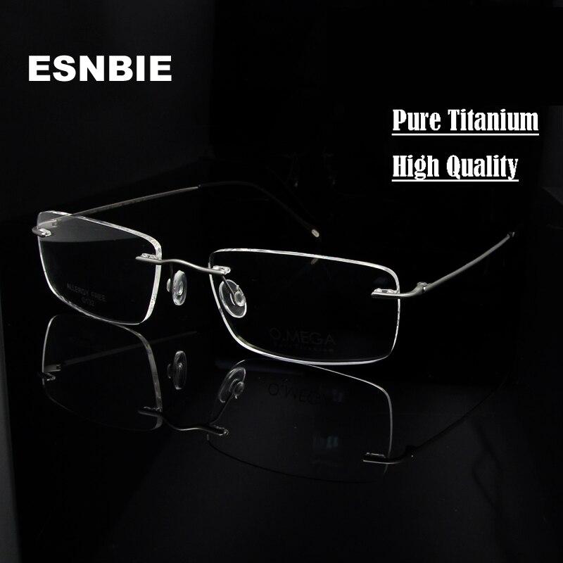 ESNBIE Reinem Titan Brillen Randlose Brillengestell Männer Herren ...