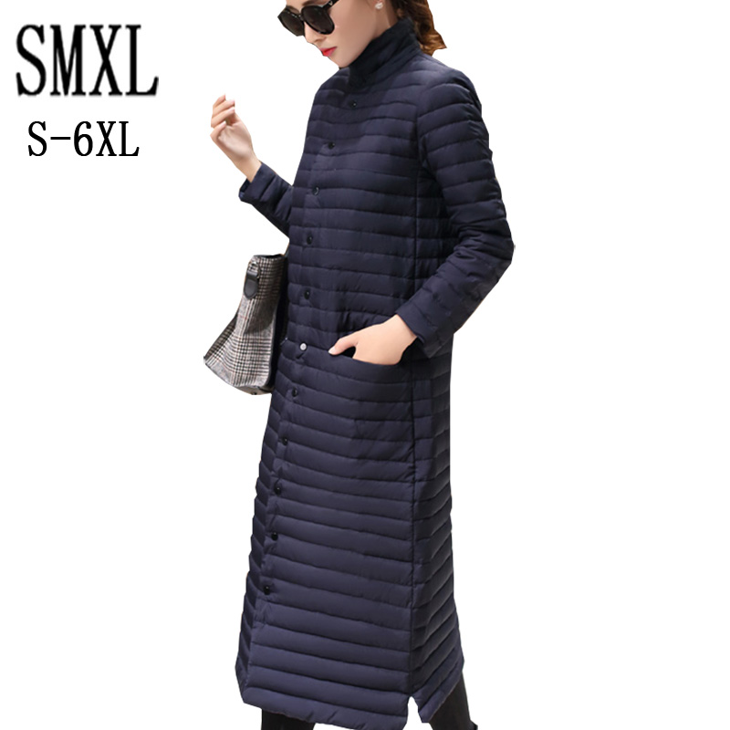 add plus size s-6XL Coat Ultra warm white Duck Down Jacket x-Long Female Overcoat Slim Solid Jackets Winter Coats Parkas Padded winter keep warm thicken women s cotton slim long coat hooded parka jackets coats white overcoat plus size down parkas clothes