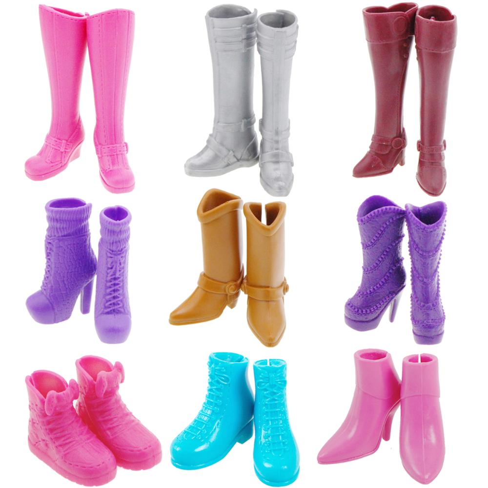 1 Pair Winter Fashion Casual High Heel Shoes Boots For Barbie Doll Clothes Dress Purple Pink Lot Styles Rack Accessories