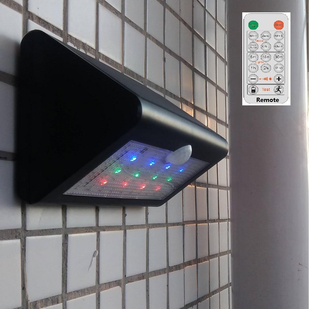 Luz de sensor solar LED 50 LED Luz de sensor de movimiento PIR de energía solar para exteriores Lámpara de pared Luces de seguridad Control remoto 2in1 RGBW