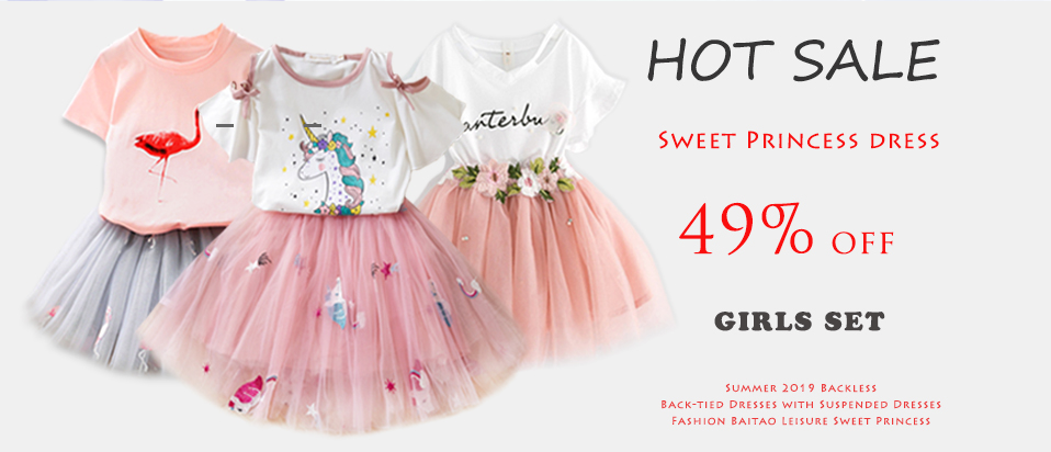 24ff3780e3b45 Girls Dresses 2019 Brand Kids Clothes Butterfly Sleeve Letter T ...