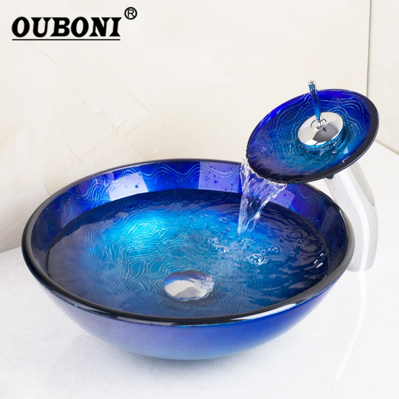 OUBONI Blue Chrome Tall Basin Tap Bathroom Sink Washbasin Tempered Glass Hand-Painted Waterfall Bath Brass Set Faucet Mixer Tap free shipping wine glass shape grilled white painted tall bathroom waterfall faucet fancy style white basin sink mixer tap w004
