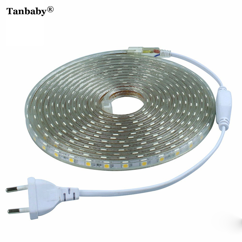 220V LED Strip Light SMD 5050 Outdoor Waterproof LED Ribbon 60Leds/M High Brightness Outdoor Indoor Decoration With EU Plug