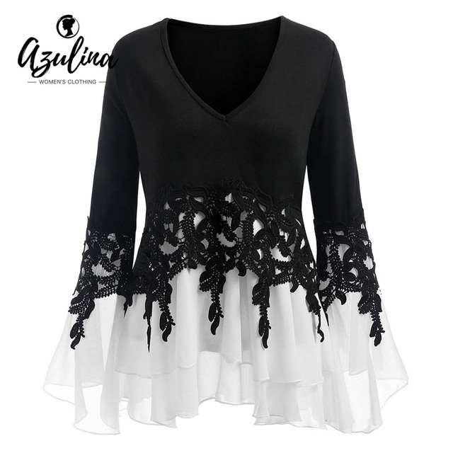 7cd16787793 AZULINA Plus Size Applique Layered Blouse Women Blouses 2018 Fall New  Fashions V-Neck Long Sleeves Ladies Tops Blusas Clothing