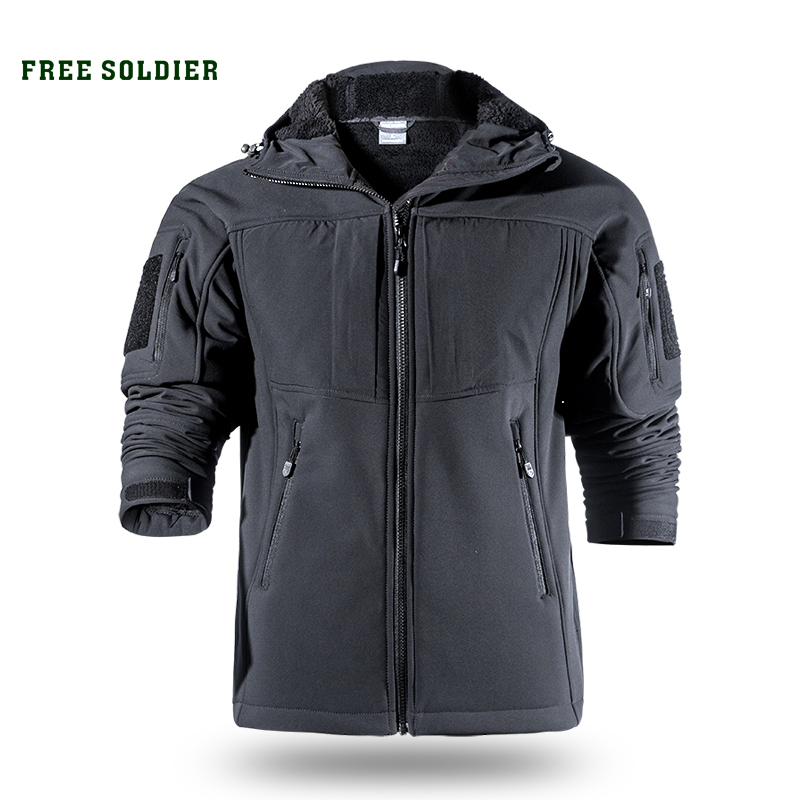 FREE SOLDIER Outdoor sports camping hiking tactical softshell jacket men's warm water-resistant clothing large size